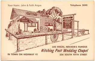 Hitching Post Wedding Chapel - vintage postcard